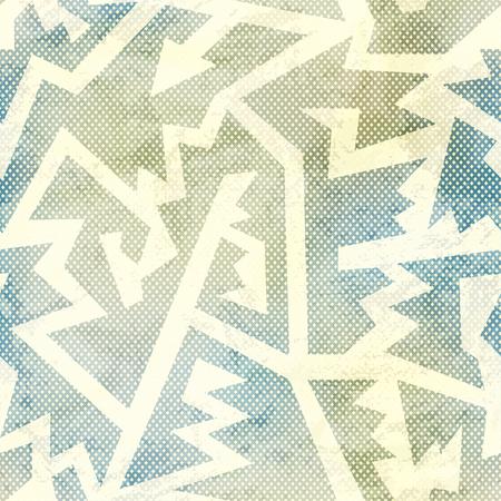 retro grunge: retro geometric seamless pattern with grunge effect