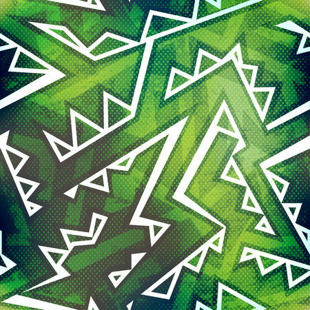 graffiti: Modelo inconsútil de la pintada verde con efecto del grunge