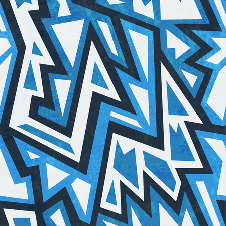 blue tribal geometric seamless pattern Illustration