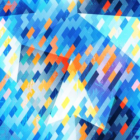 refracted: Blue geometric seamless pattern. Illustration