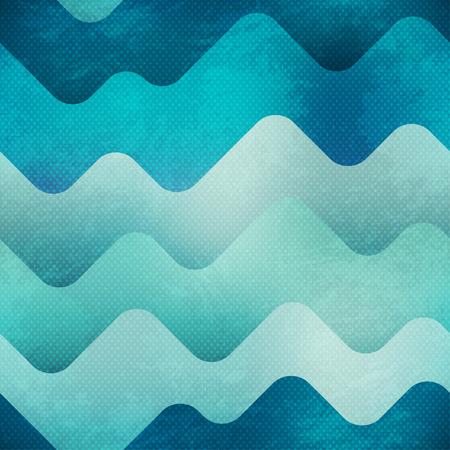 blue sea: Sea seamless pattern with grunge effect. Illustration