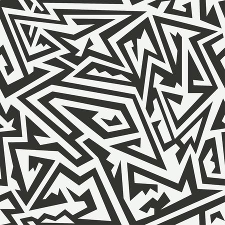 monochrome: Monochrome maze seamless pattern