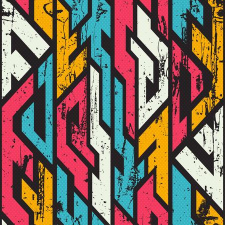 grunge: Tribal bright seamless pattern with grunge effect.