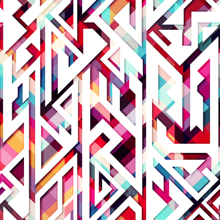 textile image: Colored mosaic pattern.