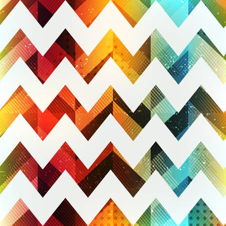 Colored zigzag seamless pattern with grunge effect (eps 10 vector file) Illustration