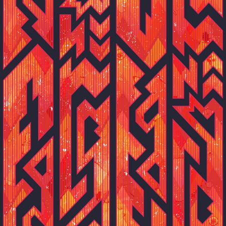 Red color tribal geometric seamless pattern with grunge effect (eps 10 vector file)