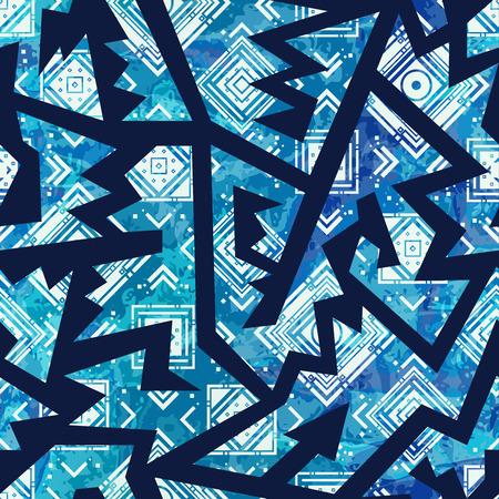 Blue tribal seamless pattern