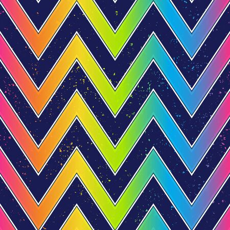 Bright zigzag seamless pattern with grunge effect.