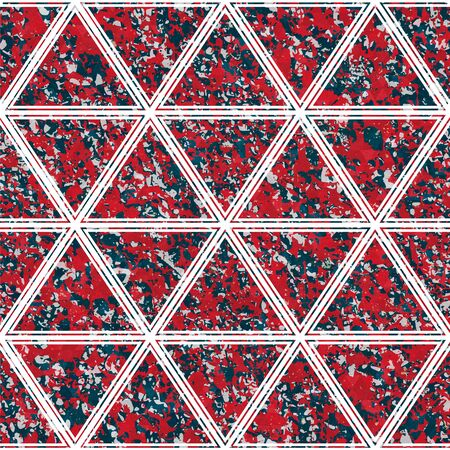 Red color triangle pattern with stone texture. Ilustrace