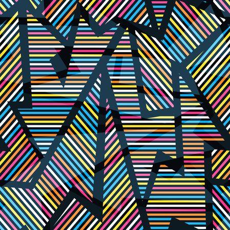 Neon geometric seamless pattern.  イラスト・ベクター素材