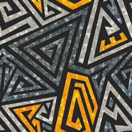 Grunge maze seamless pattern.