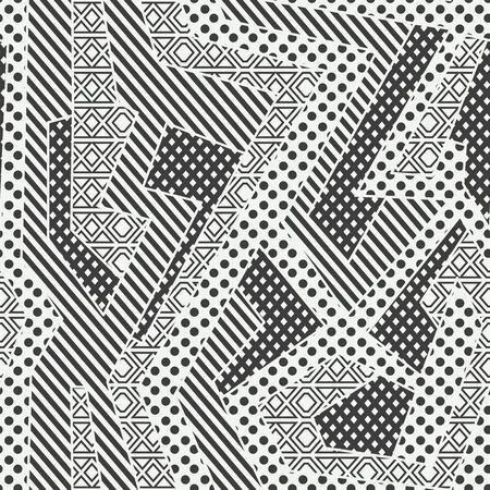Monochrome cloth geometric seamless pattern.
