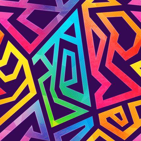 Patrón geométrico de graffiti con efecto grunge