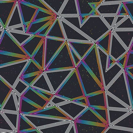 Space triangle seamless pattern with grunge effect.