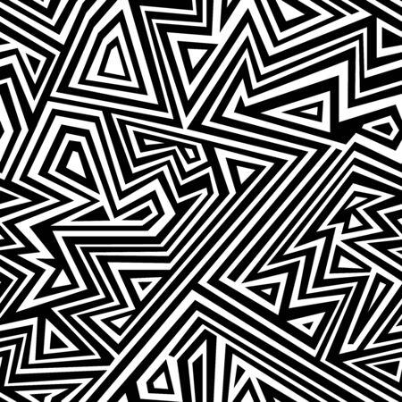 Patrón transparente de línea monocromática. Ilustración de vector