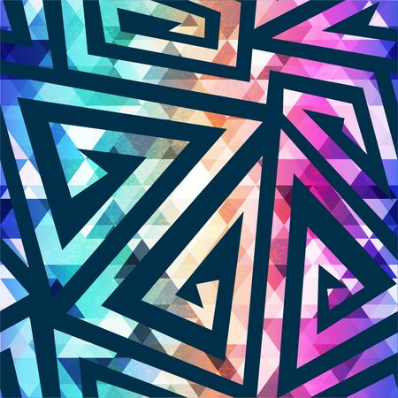 Bright maze geometric seamless pattern. Illustration