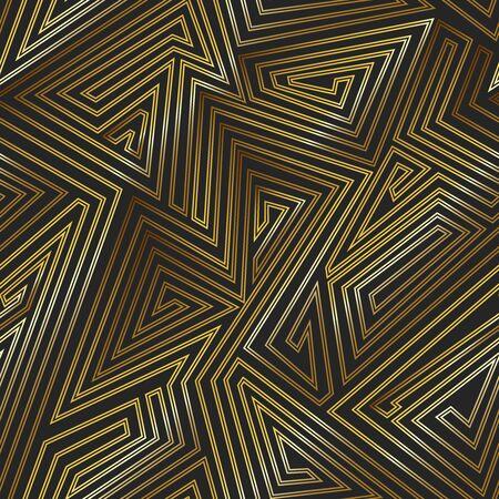 Gold color maze seamless pattern. Vector Illustration