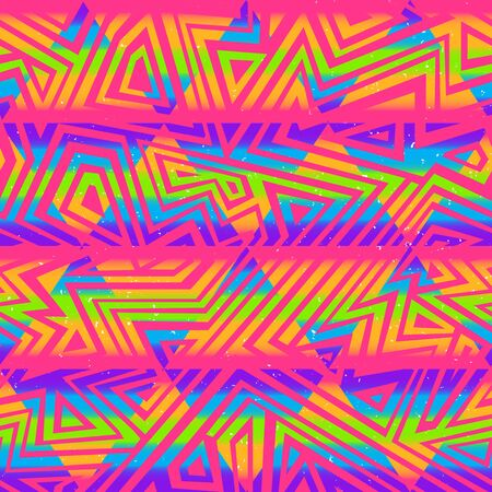 Psychedelic colors triangle seamless pattern.