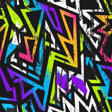 Graffiti naadloos patroon met grunge-effect