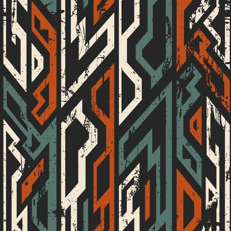 Ancient geometric seamless pattern with grunge effect.