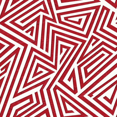 Red maze geometric seamless pattern with grunge effect.