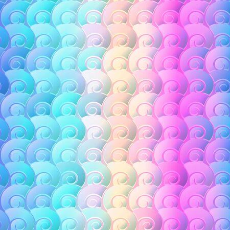 Rainbow seashells geometric seamless pattern. Ilustração