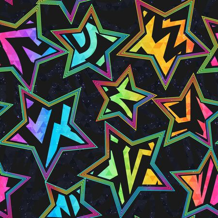 Colored star geometric seamless pattern with grunge effect.