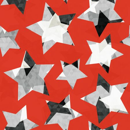 Red star geometric seamless pattern with grunge effect. Imagens - 144677705