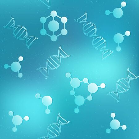 DNA geometric seamless pattern with blue background.