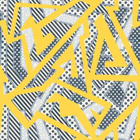 Yellow cloth geometric seamless pattern. Ilustração