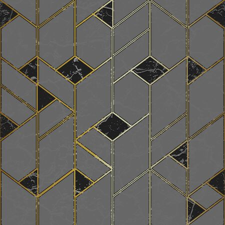 Marple mosaic seamless pattern with gold frame.