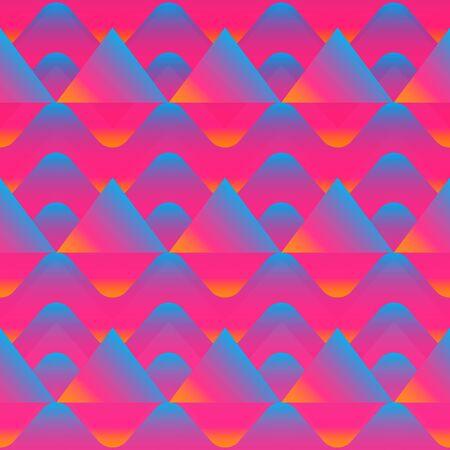 Pink color geometric seamless pattern with grunge effect. Ilustração