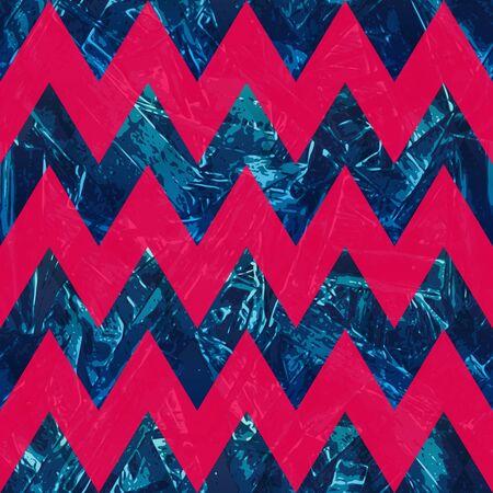 Retro blue color zigzag seamless pattern.