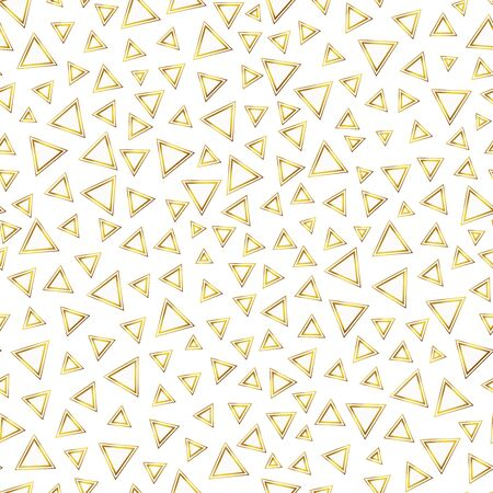Gold color triangle seamless pattern..