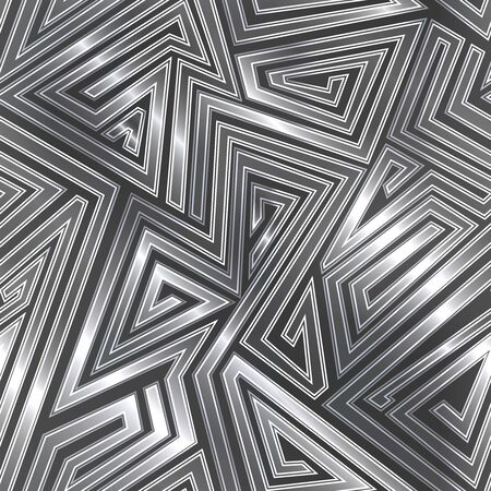 Maze seamless pattern with metal effect..