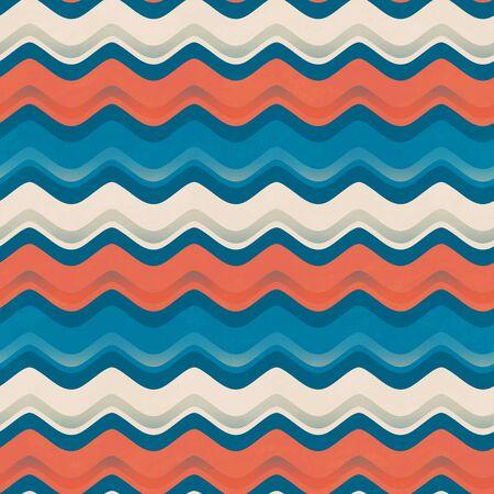 Vintage color wave seamless pattern. Ilustração