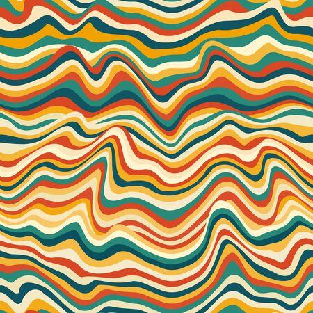Retro curved lines seamless pattern. Ilustração