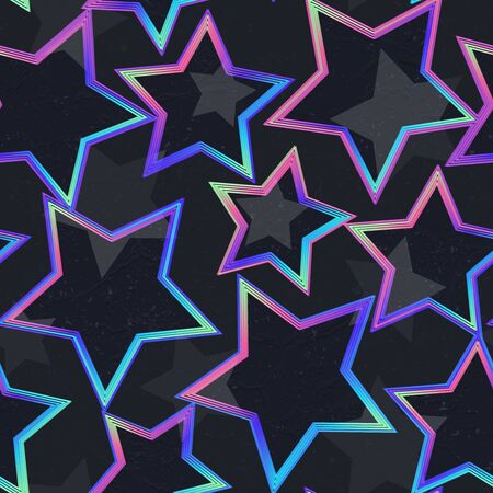 Neon star geometric seamless pattern.