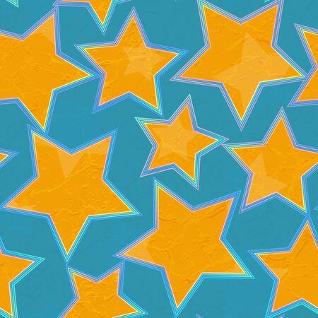 Grunge star geometric seamless pattern..