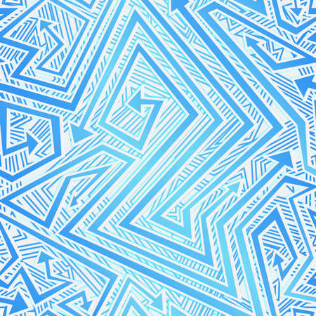 Blue color tribal arrow seamless texture.