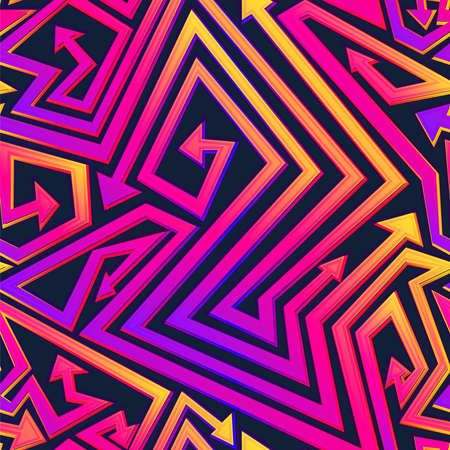 Vibrant geometric arrow seamless pattern.