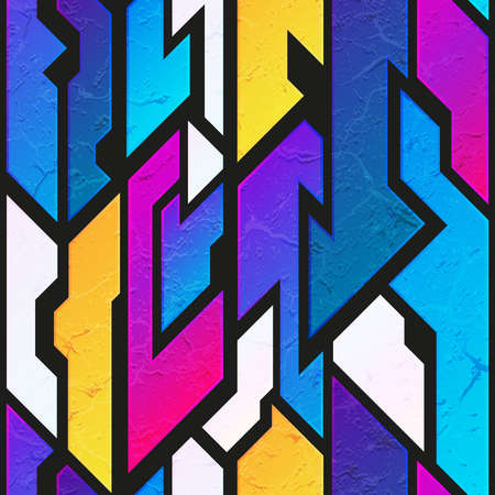 Abstract colored geometric pattern with stone texture.