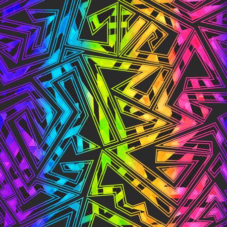 Bright maze geometric seamless pattern. Ilustração