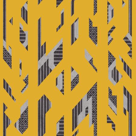 Yellow vintage geometric seamless pattern.