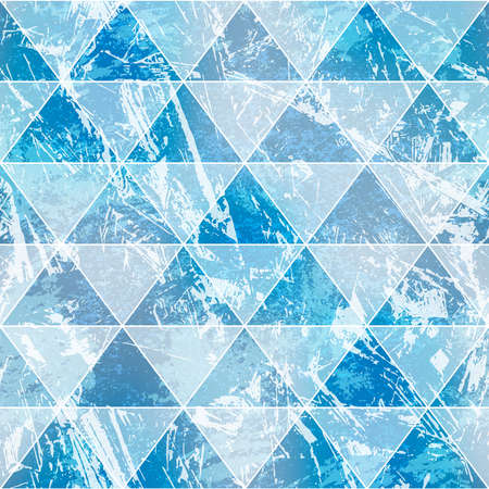 Blue triangles with grunge stone effect. Seamless pattern.