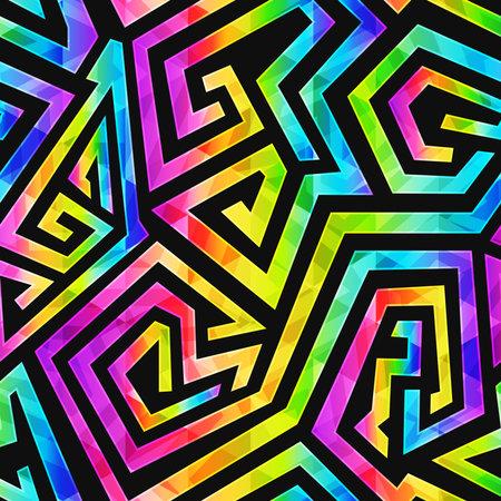 Neon geometric seamless pattern. Ilustração