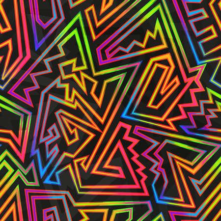 Bright neon geometric seamless texture. Ilustração