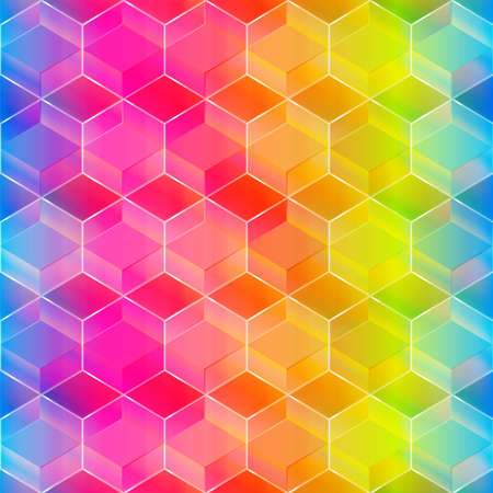 Rainbow color mosaic seamless pattern. Ilustração