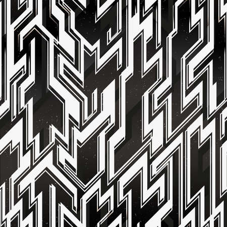 Monochrome space geometric pattern with grunge background.