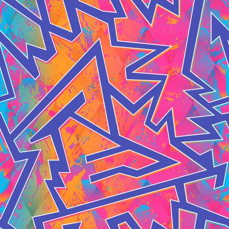 Grunge colored geometric seamless pattern. Ilustração